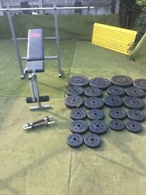 Pro power bench and 100kg weights