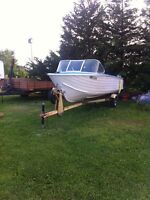16ft aluminum boat and trailer OBO