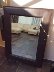 Large Dark Brown Leather Effect Mirror Great Condition
