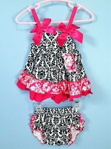 Baby 2pc summer dress & diaper cover ruffle bloomer set 6-12m