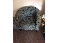 FREE: Black floral pattern tub chair