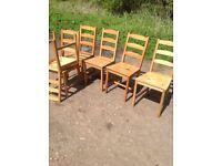 pine chairs x6