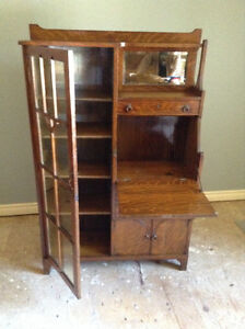 Side by side secretary drop leaf desk and bookcase