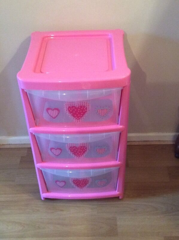 3 Drawer Pink Plastic Storage Chest Trolley With Heart