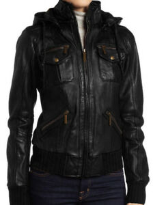 Womens Genuine Leather Jacket XS-XXXL sizes in Black and Brown