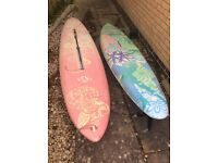 Windsurfing boards, booms, masts and board bag