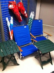 chaises camping coleman, plage, parasol table, chairs umbrella