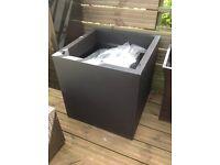 Huge zinc galvanised black cube planter 60cm