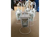 Mini white lanterns with shepherds hook stands x6, £3 each or £15 for the lot. Wedding/ party