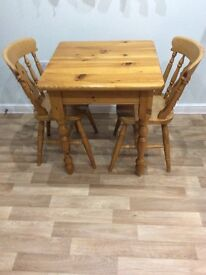 Solid Pine Kitchen Table & 2 Chairs