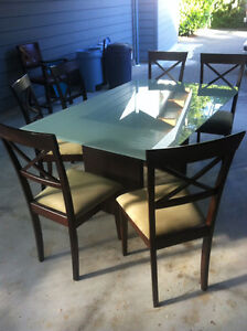Dining table, glass top ,six chairs
