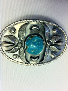 Silver and Turquoise Western Belt Buckle