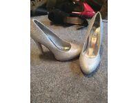 Size 7 silver glittery heels stilettos