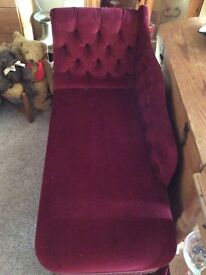 Good used condition burgundy red chaise lounge