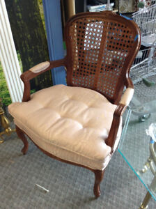 Faded Pink Rattan-Back Chair