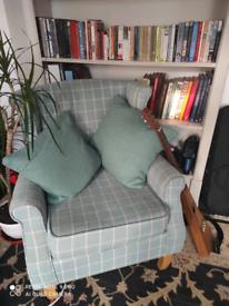 Comfy pale blue armchair