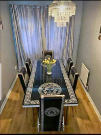 ❄️♠️❄️Lovely Designed Glass Top Dining Table With Chairs❄️♠️❄️📞Now🚛