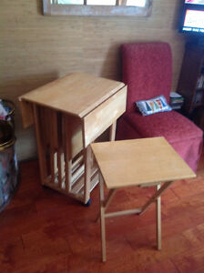 4 tv tables plus stand/table