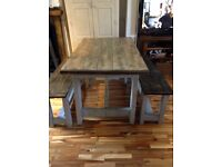 Shabby chic waxed top dinning table with two benches