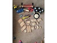 60 piece wooden train set with accessories