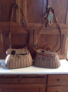 Two vintage wicker creels