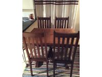 Solid oak extending dining table and tapestry chairs