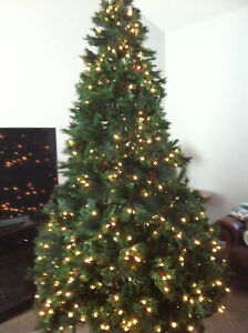 9' Artificial Christmas Tree with Lights and Stand