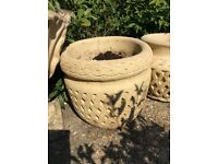 2 x Good Size Matching Stone Pots