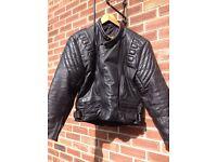 """Black Leather Motorbike Jacket 44"""""""