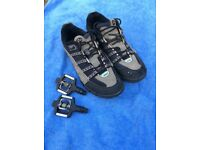 Shimano Cycling Shoes (Size 45), Cleats and Pedals