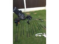 Golf clubs bag and accessories and newish golf shoes size 8