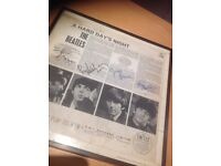 The Beatles ' A Hard days Night' LP framed PMC 1230 with signatures