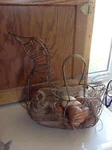 Loon wire egg basket, farm house decorating.