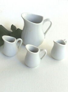 Set of 4 White Porcelain Ceramic Mini Jugs Traditional Style Peterborough Peterborough Area image 2