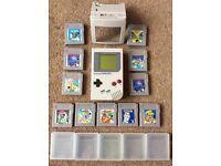 Original Nintendo Gameboy + 11 games, magnifier + game cases