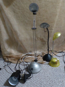 4 flexible desk lamps with new bulbs (one is clamp on) 4 for $40