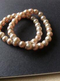 X2 Fresh water Pearl bridal bracelets