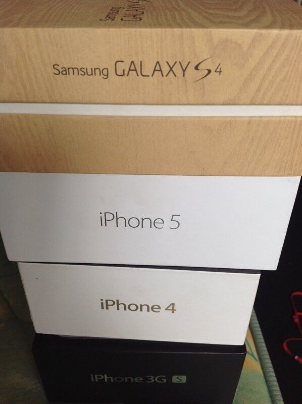 iPhone boxes and Samsung Galaxy box