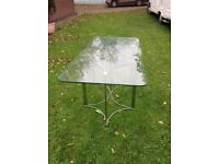 1970's Vintage Glass Top Dining Table on Chrome Base
