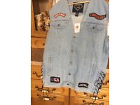 New biker jean waistcoat with 9 patches size 3xL