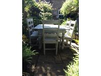 Shabby chic kitchen/dinning table with six chairs painted in grey