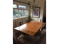 Dining table & 6 chairs with matching opening shelving unit