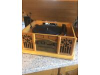 Vintage style record player CD player radio and cassette player