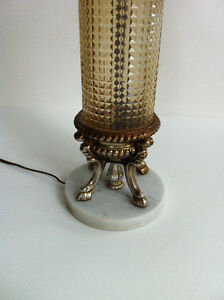 Shabby Chic Table Lamp Amber Glass Marble Base 1970s Peterborough Peterborough Area image 2