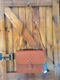 Jack Wills Braidley Satchel - Tan Leather - NEW with packaging and label