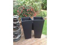 Pair of black zinc planters