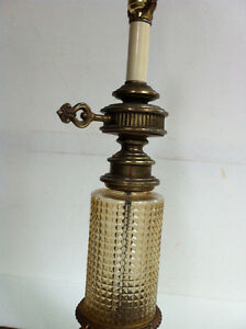 Shabby Chic Table Lamp Amber Glass Marble Base 1970s Peterborough Peterborough Area image 3