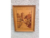 Vintage Old Marquetry Picture 1960s / 1970s