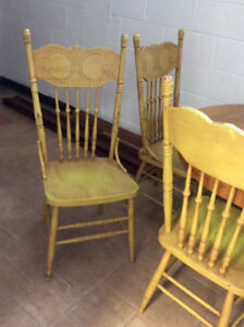 Antique press back chairs
