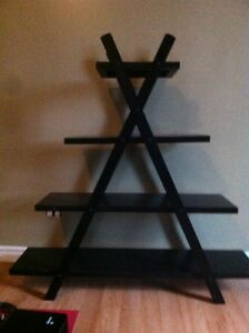 Decorative black wood shelf unit